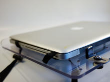 Laptop tray: position the laptop